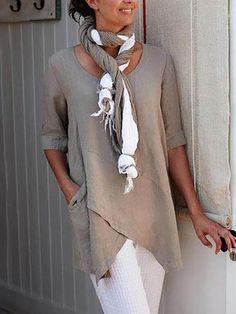 e7c465b7e4 bellelindo Half Sleeve Irregular Plus Size Blouses Asymmetrical Hem Shirts  – Bellelindo