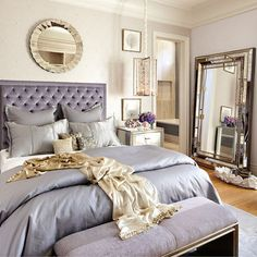 Princess-perfect bedroom! Purple Bedroom with Silvery Gold Mirrors - Tara Dudley Interiors http://taradudleyinteriors.com/