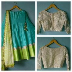 """""""Ocean blue silk lehenga with mint green border and mirror work blouse To… Indian Look, Indian Ethnic Wear, Ethnic Suit, Lehenga Designs, Indian Dresses, Indian Outfits, Indian Clothes, Women's Dresses, Indische Sarees"""