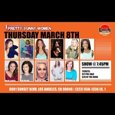 This Thursday we will be back at Laugh Factory, Funny Women, Thursday, Comedy, Hollywood, Actresses, Pretty, Movie Posters, Life