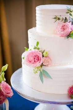 White Cake with Polka Dot + Pink Rose Accents // Classic Preppy Navy + Pink Creek Club at I'On Charleston Wedding // Dana Cubbage Weddings // Charleston SC Wedding Photography