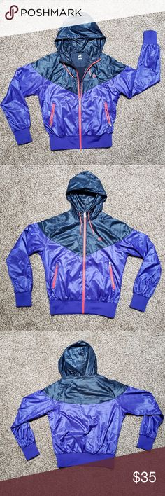 52a3bcfef301 Nike Windrunner Jacket Purple and navy blue two-toned jacket Highlighter  pink zippers