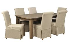Beckett 7 Piece Rectangle Dining Set W/Slip Cover Side Chairs