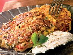 Learn how to make Rustic Corn Cakes With Creamy Cumin Sauce. MyRecipes has tested recipes and videos to help you be a better cook. Frozen Corn Recipes, Corn Pudding Recipes, Veggie Recipes, Vegetarian Recipes, Stuffed Pepper Soup, Stuffed Peppers, Chicken Corn Chowder, Creamy Corn, Corn Cakes