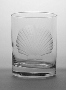 Etched Sea Shell Double Old Fashioned Glasses