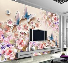 papel de parede ,Custom photo HD flowers relief mural for Interior decorat. - Wallpaper World 3d Wall Decor, 3d Wall Murals, Wall Stickers Home Decor, Art Decor, Decor Ideas, Wall Art, Tapestry Bedroom, Wall Tapestry, Bedroom Wall