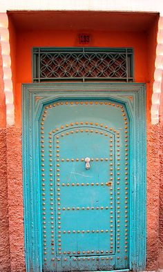 morrocan door by milena boeva Cool Doors, Unique Doors, Door Knockers, Door Knobs, Morrocan Doors, When One Door Closes, Painted Doors, Doorway, Windows And Doors