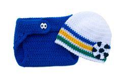 Royal Blue, White Green & Gold SOCCER Brazil BABY Flag Colours Beanie Hat and Diaper Cover Crocheted Boy or Girl Preemie, Newborn - 3 Months by Grandmabilt on Etsy