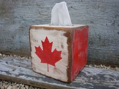 wouldn't make a tissue box but just some boxes would be fun Tissue Box Holder, Tissue Boxes, Canadian Things, Canadian Flags, Canada Day Crafts, Canada Day Party, Happy Canada Day, Reclaimed Wood Projects, Rustic Cabin Decor