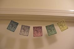 Buddhist prayer flags, this is a Tibetan print, but I'm sure it can be changed.