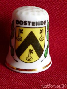 Ostend Oostende Belgium Crest (Gold Gilded) Collectors Thimble