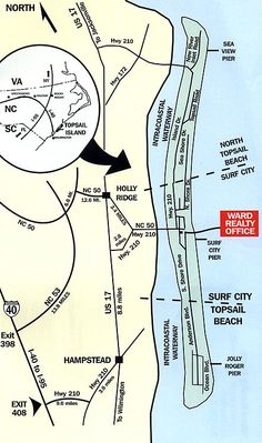 Map of Topsail Island.. Ward Realty was so awesome and nice! I highly recommend
