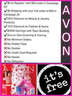 This is a great opportunity to save 25% for your #Christmas gifts and receive direct shipping to your home FREE! FREE join Avon and receive $75 FREE Avon products - A LIMITED TIME OFFER! Message me, text or Call 647-299-2313 or 1-800-280-6823 for Canada. www.feannyxu.com #joinAvon #AvonCanada #buyAvon #jobopportunity #BeautyforaPurpose #workfromhome #cosmetics #skincare #makeup #fashion #gifts #NHL #Disney #jewellery #fragrance #DreamBig