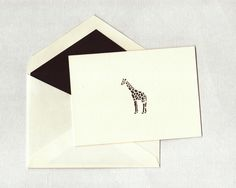 Letterpress Giraffe Note Card with matching lined by PaperJules