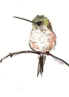 Hummingbird artwork, bird art, minimalist one of a kind original watercolor painting, green wall art bird artwork by ORIGINALONLY on Etsy By Suren Nersisyan