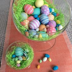 Try using these affordable egg shaped terrarium glass bowls for an alternative to a wicker basket. Fill with paper grass, colored eggs, jelly beans and other sweet goodies. After Easter, these HomeGoods glass beauties will make the perfect entertaining bowls for snacks, chips, or garden herbs. Sponsored Happy By Design Post.