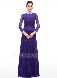 A-Line/Princess Scoop Neck Floor-Length Chiffon Lace Mother of the Bride Dress With Flower(s) Cascading Ruffles (008058389)