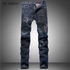 08cb5bdc581cf Printed jeans Men Fashion design vaqueros hombre hip hop casual full length  Cotton Masculina Pantalones skinny Denim Distressed-in Jeans from Men s  Clothing ...