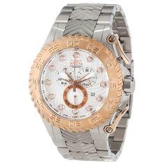 #Invicta #watch Invicta 12941 Men's Pro Diver Rose Gold Bezel Silver Dial Steel Bracelet Chronograph Dive Watch