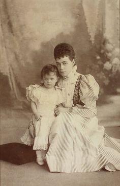 Grand duchess Ksenia Alexandrovna of Russia and daughter, Princess Irina Alexandrovna. Mids 1890s.