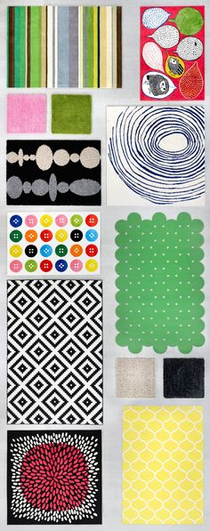 Display of rugs in different sizes, colors and shapes