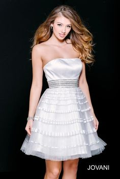 4be7889ca68 Jovani Short and Cocktail 33668 White Fit and Flare Homecoming Dress  Pageant Dresses