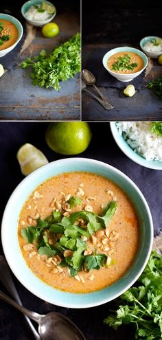Spicy peanutsuppe med blomkål og kylling - The Food Club Soup Recipes, Healthy Recipes, Food Club, Cafe Food, Everyday Food, Asian, Food Inspiration, Spicy, Food Photography