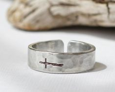 Mens Sterling Sideways Cross Ring Hammered Silver by EagleRowe