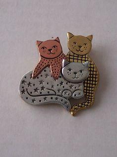 Vintage 3 Little Kittens Cat Family Pin Brooch by Hiddenbear, $8.00