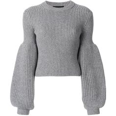 Alexander Wang puff sleeve knit jumper (6553680 PYG) ❤ liked on Polyvore featuring tops, sweaters, grey, gray sweater, knit top, grey crew neck sweater, crewneck sweaters and knit crew neck sweater