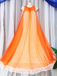 0fe2a08fc301d M L Vtg Rare two tone white tangerine sweep chiffon lace vintage nightgown
