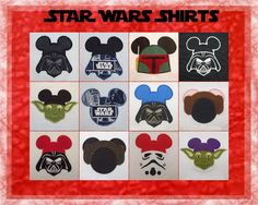 Disney Mickey Star Wars Shirt for Star Wars Weekend - Dark Vader Princess Leia Yoda R2D2 Storm Trooper