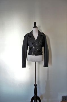 Vintage 1980's - 90's 'Rebel Heart' Black Leather Motorcycle Jacket Size S / M by BeehausVintage on Etsy