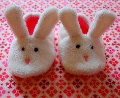 Bunny slippers baby booties by Jennifer Ladd handmade