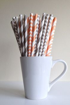 Paper Straws - 25 Peach and Gray / Grey Striped and Chevron Party Straws Birthday Wedding Bridal Shower Baby Shower Mason Jar Straws Mix by PuppyCatCrafts