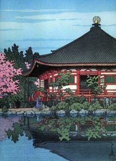 Japanese Ukiyo-e: Daigo Denpo Temple, Kyoto. Hasui Kawase. 1950