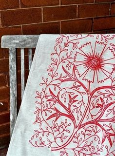 Unbleached Linen Tea Towel  Tomato Filigree by FlowerPress on Etsy, $15.00