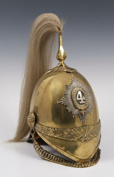 1871 pattern brass 4th Dragoon Guards trooper helmet.