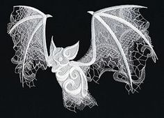 Craft spooky decorations for your haunted home! Layers of dimensional swirls, intricate lacy textures, and sheer painterly areas of stitching give this bat design an otherworldly edge.