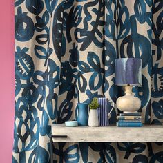 Enjoy those bold inky brushstrokes of artichokes and pomegranates with our Big Pomegranate Fabric. Perfect for curtains or upholstery. Bold Curtains, Printed Curtains, Floral Bedding, Floral Fabric, Floral Prints, Bluebellgray, Velvet Cushions, Dining Room Design, Soft Furnishings