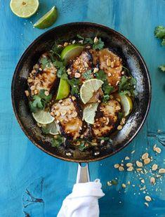 thai skillet pork chops with coconut rice I howsweeteats.com #thaiskillet #porkchops #coconutrice #easymeal #dinner
