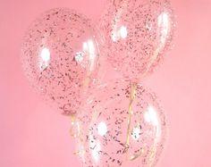 Los globos de oro rosa confeti | Globos confeti rosa metálico | Conjunto de 3 confeti globos | ENVÍO GRATIS *