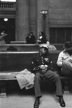 In the waiting room of Chicago's Union Station, circa 1940s.    By Esther Bubley