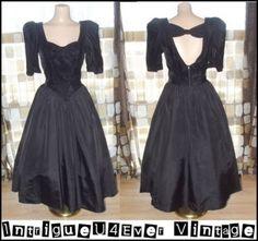 Vintage 80s 50s FULL Lucy Prom Gown Dress Velvet & Taffeta Cutout Back 9 VLV  http://www.ebay.com/itm/190638858763?ssPageName=STRK:MESELX:IT&_trksid=p3984.m1555.l2649