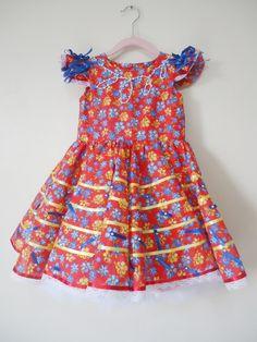 Vestido festa junina infantil +tiara 010