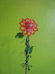 Fancy Orange Flower Plant Poke by whimsicalwire on Etsy, $15.00