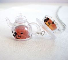 Miniature Mickey Mouse Teapot and Tea cup Necklace