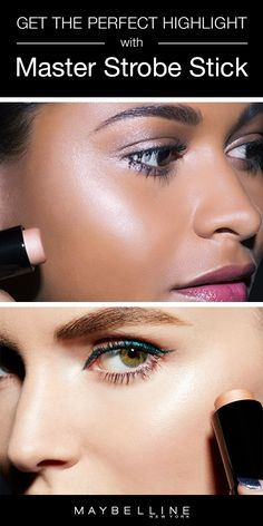 Facestudio Master Strobing Stick Illuminating Highlighter by Maybelline. Cream highlighter sculpts face for a dewy, luminous makeup look with the strobe effect. Contour Makeup, Contouring And Highlighting, Makeup Dupes, Eye Contour, Gorgeous Makeup, Love Makeup, Luminous Makeup, Face Brightening, Make Up Tricks