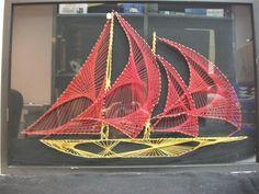 Vtg String Art Yellow Sailboat Red Sail Wooden SHIP Boat Frame Framed UV Protect   eBay