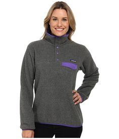 Patagonia Lightweight Synchilla® Snap-T® Pullover Nickel w/ Violetti - Zappos.com Free Shipping BOTH Ways